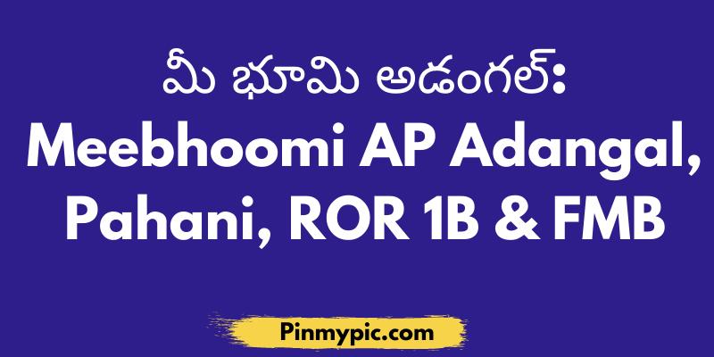 మీ భూమి అడంగల్ Meebhoomi AP Adangal, Pahani, ROR 1B & FMB